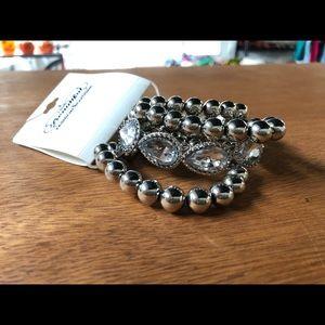 Silver Colored Bracelet Set NEW